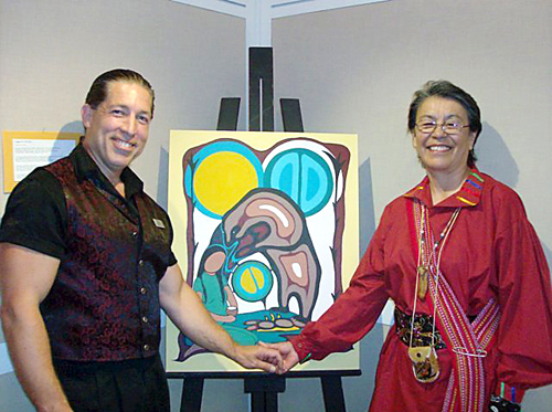 With featured Ojibway/Anishnabe painter Pineshi Gustin at the launch of the Chemainus Theatres First Nations Exhibition Opening.